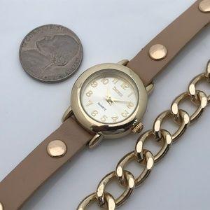 Decree Accessories - Decree Women Watch Metal Chain Bracelet Gold Tan